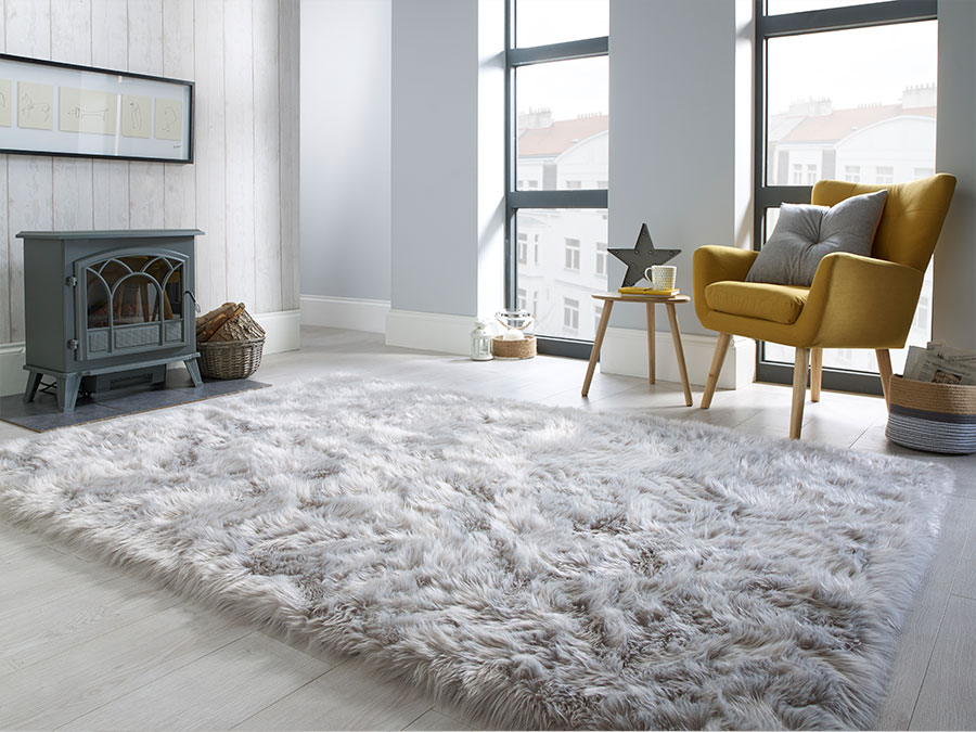 Faux Fur Grey Flair Rugs
