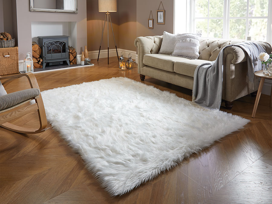 Faux Fur Ivory Flair Rugs